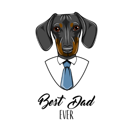 Dachshund dog. Fathers day greeting card. Best dad ever text. Cute dog portrait.