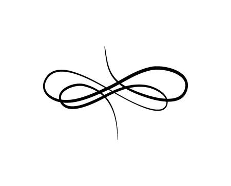 Linea floreale swirl. Scorri il modello in filigrana. Ornamento a spirale. Elemento di design vintage. Inviration matrimonio, decorazione del libro, biglietto di auguri, divisore di pagina, bordo. Illustrazione vettoriale.
