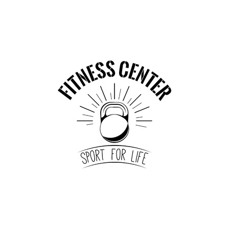 Kettlebell icon. Fitness center logo. Sport equipment. Fitness club label emble. Sport for life inscription. Vector illustration.