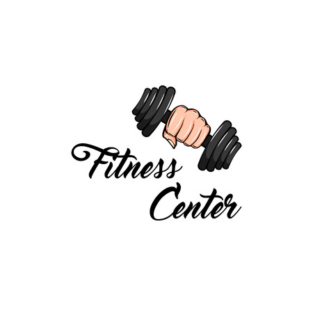 Dumbbell icon. Fist. Fitness club label. Sport badge. Fitness center emblem logo. Hand holding weight. Vector illustration.