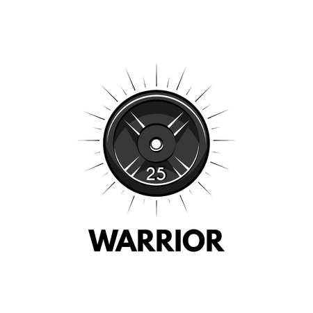 Disk weight, barbell disk. Fitness badge. Warrior inscriptions. Sport icon Vector illustration. Illustration