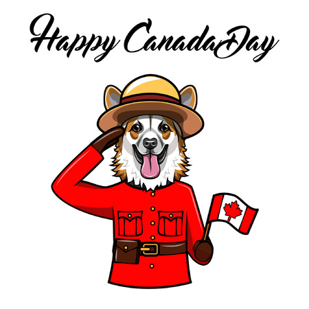Welsh corgi dog. Canadian flag. Canada day card. Royal Canadian Mounted Police. Corgi portrait.