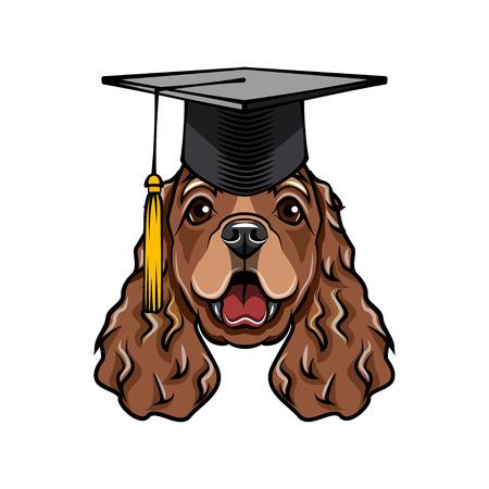 Cocker Spaniel dog graduate. Graduations cat hat. English Cocker Spaniel breed. Education symbol. Dog portrait. Vector illustration. Stock Illustratie