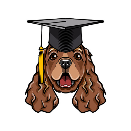 Cocker Spaniel dog graduate. Graduations cat hat. English Cocker Spaniel breed. Education symbol. Dog portrait. Vector illustration. Ilustração