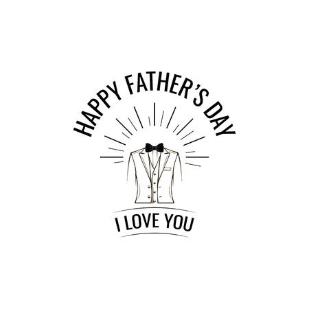 Fathers day card. Mens suit, Elegant costume, Bow tie. Fathers day symbols. Greeting card design. I love you lettering. Vector illustation. Stock Vector - 100893211