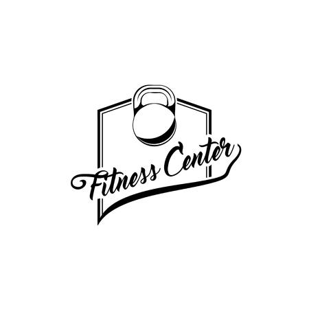 Kettlebell sign. Fitness club logo. Sport badge. Fitness center label emblem. Sport training. Vector illustration. Stock Vector - 100893854
