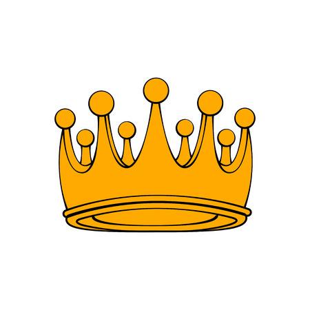 Royal ceremonial gold crown. Royal symbol. Decorative design element. Vector illustration. Ilustração