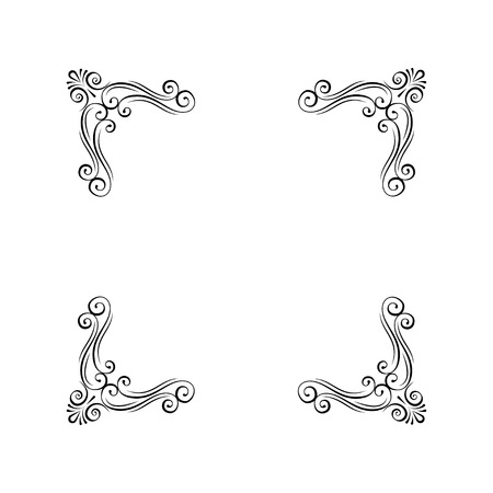 Vintage decorative corners. Calligraphic scroll filigree page decoration. Ornamental frames. Curl, swirls. Design elements.