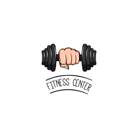Dumbbell badge. Fist. Fitness center icon. Dumbbell in hand icon. Sport equipment.