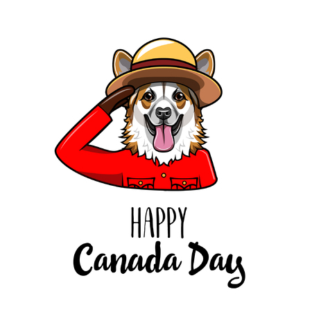 Welsh Corgi dog. Happy Canada day greeting card. Royal Canadian Mounted Police. Dog portrait. Vector illustration.