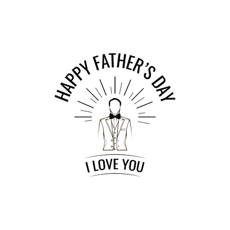 Happy Fathers day. Greeting card. Suit, Bow tie. I love you lettering. Fathers day symbols. Holiday card for Fathers day. Vector illustration.