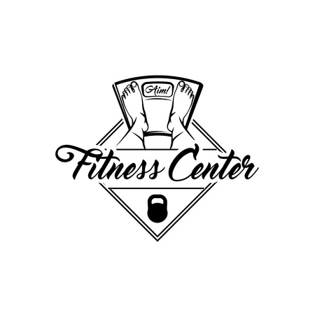 Floor scale icon. Fitness center logo. Fitness club label. Kettlebell badge. Feet on weighting machine. Weight loss motivation. Vector illustration. Illustration
