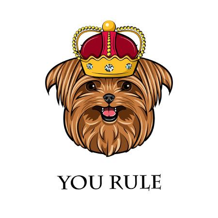 Yorkshire terrier dog. Crown icon. Royal symbol. You rule inscription. Vector illustration.
