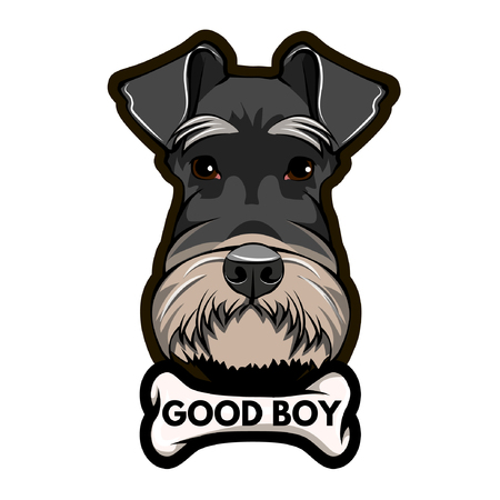 Schnauzer Dog Portrait. Dogs bone. Good boy inscription. Schnauzer breed. Vector illustration. Illustration