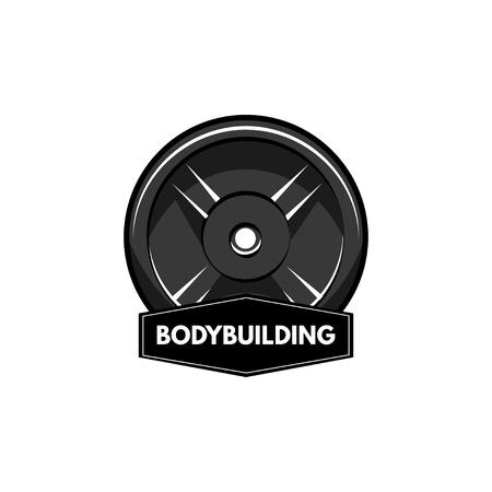 Fitness badge. Disk weight, barbell disk. Bodybuiding inscription. Sport sign. Vector illustration. Stock Vector - 101052608