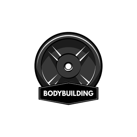 Fitness badge. Disk weight, barbell disk. Bodybuiding inscription. Sport sign. Vector illustration.