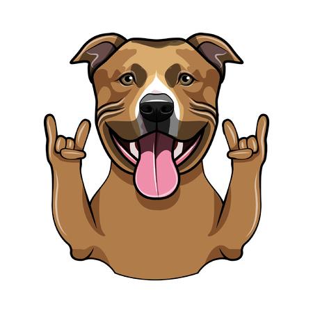 Staffordshire Terrier dog. Horns, Rock gesture. Dog portrait. Staffordshire Terrier breed. Vector illustration.
