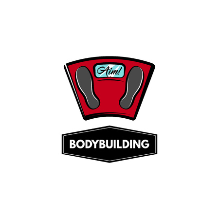 Floor scale icon. Bodybuilding label logo emble. Weighing machine icon. Weight loss motivation. Vector illustration.