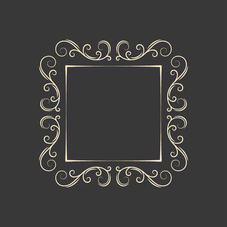 Vintage border frame engraving. Retro ornament pattern in antique style decorative design. Swirl, curl filigree design element. Vector illustration.