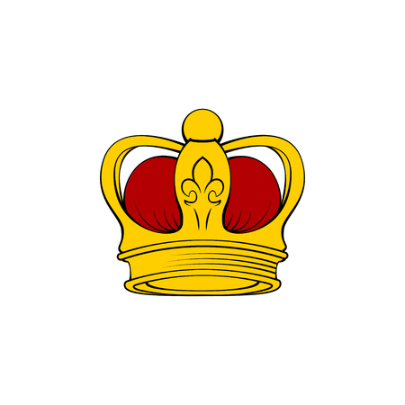 Gold royal crown. Image on white background. Vector illustration.
