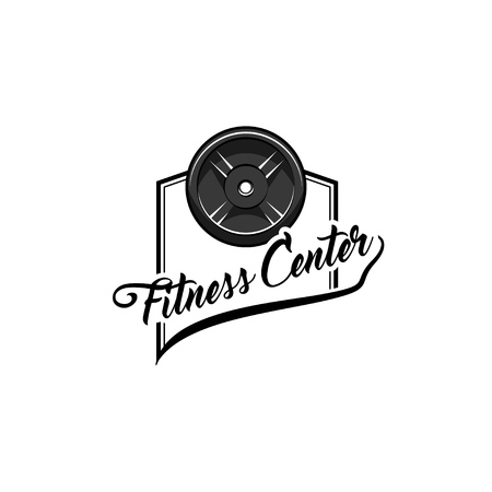Barbell disk icon. Fitness center logo label. Sport Training. Bodybuilding. Disk weight. Vector illustration.