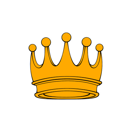 Royal attribute golden crown isolated on white background. Vector illustration.