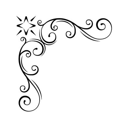 Coin floral décoratif tourbillon. Élément de conception calligraphique, décoration de page. Faites défiler la frontière vintage. Invitation de mariage, conception de cartes de voeux. Illustration vectorielle.
