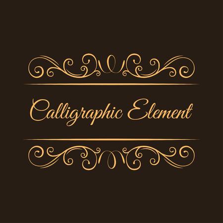 Calligraphic elements. Vintage decorative curls, swirls. Filigree scroll ornamental page decorations, Wedding invitationa, Menu design. Vector illustration. Illustration