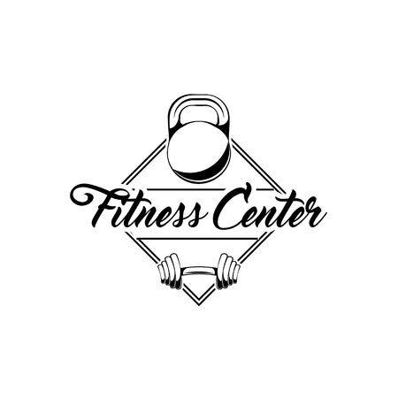 Kettlebell, barbell badges. Fitness club logo. Gym symbols. Bodybuilding sign. Vector illustration.