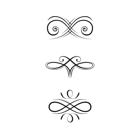 Calligraphic Design Elements, Page Decoration set. Swirls, Filigree ornamental design. Book decorations, Wedding invitations, Greeting cards. Vector illustration.