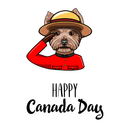 Yorkshire terrier Royal Canadian Mounted Police. Happy Canada day greeting card design. National holiday. Vector illustration.
