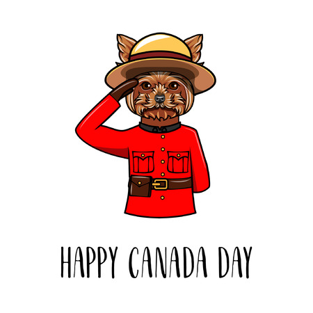 Yorkshire terrier dog. Happy Canada day greeting card. Dog wearing in form of the Royal Canadian Mounted Police. Vector illustration. Ilustrace
