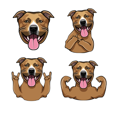 Staffordshire Terrier. Rock gesture, Middle finger, Muscles, Muzzle, Horns. Dog head. Staffordshire Terrier breed. Dog portrait. Vector illustration.