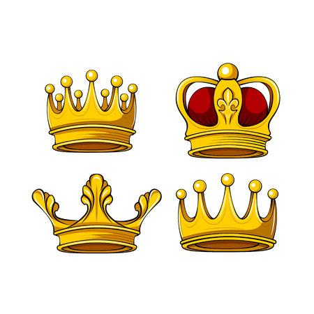 Cartoon royal crown icons set. Vector king, queen, prince, princess attributes. Design elements. Vector illustration.
