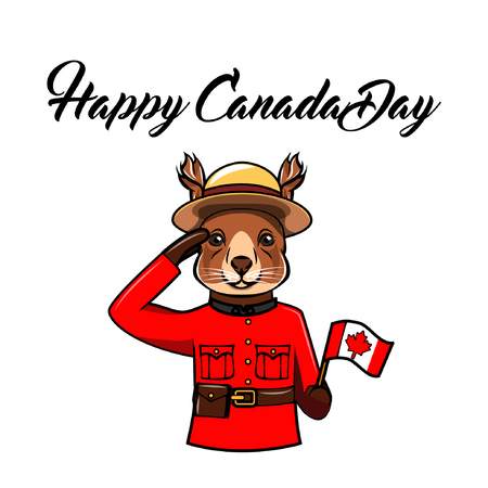 Squirrel. Canada day greeting card. Animal wearing in form of the Royal Canadian Mounted Police. Canadian flag. Vector illustration.