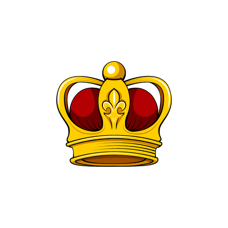 Golden imperial crown with red mitre. Royal symbol. Vector illustration.