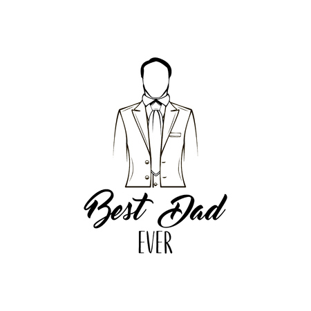 Fathers day card design. Suit, bow tie. Fathers day symbols. Best dad ever inscription. Dad greeting. Vector illustration.