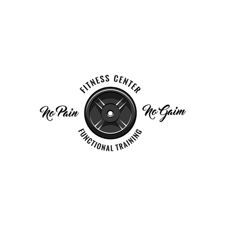 Fitness center badge. Disk weight, barbell disk. No pain No gain, Functional training inscriptions. Sport icon. Vector illustration.