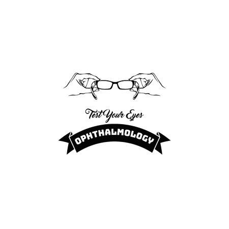 Eye glasses icon. Ophthalmology . Eyesight test. Test your eyes inscription. Glasses in hands. Vector illustration.