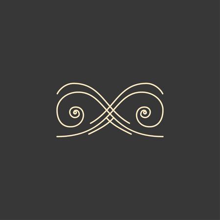 Calligraphic vignette element. Scroll, Filigree design element. Page decoration, Book decor, Wedding invitation, Greeting card, Certificate. Vector illustration.