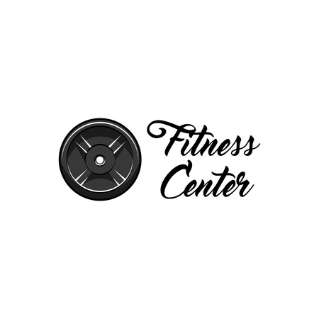 Weightlifting, powerlifting plate icon. Fitness center emblem logo. Fitness club label. Barbell disk badge. Sport icon. Vector illustration. Stock Vector - 101703097