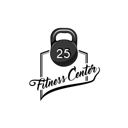 Kettlebell icon. Fitnees center logo. Fitness club label, emblem. Weight sign. Sport equipment. Vector illustration.