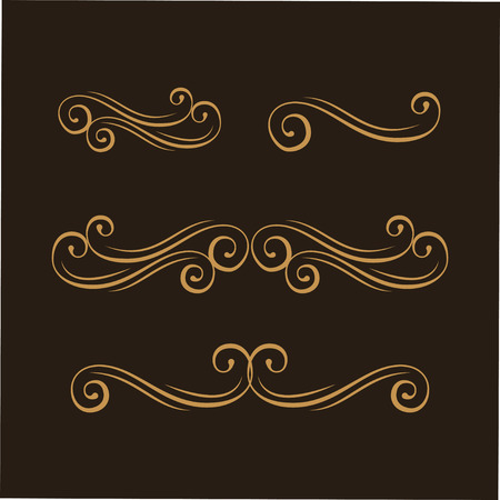 Swirly line, curl, flourish pattern. Filigree ornamental page decoration, page divider. Wedding invitation, Save the date card, Holiday greeting card design. Vector illustration.