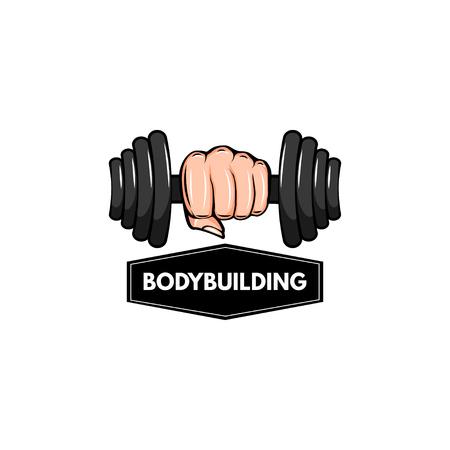 Dumbbell icon. Bodybuilding logo, label, emblem. Hand holding weight. Fitness badge. Sport equipment. Vector illustration.