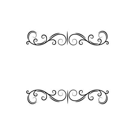 Calligraphic decorative elements, filigree page dividers. Floral swirls, curls, Ornamental design element. Save the date card, Wedding invitation, Greeting card. Vector illustration.
