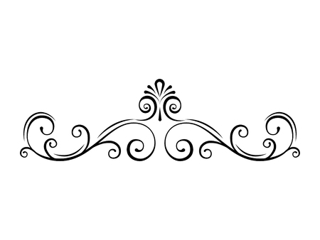 Ornamental page divider. Swirls, filigree calligraphic borders. Scroll, Curls. Decorative ornate frames. Vector illustration.