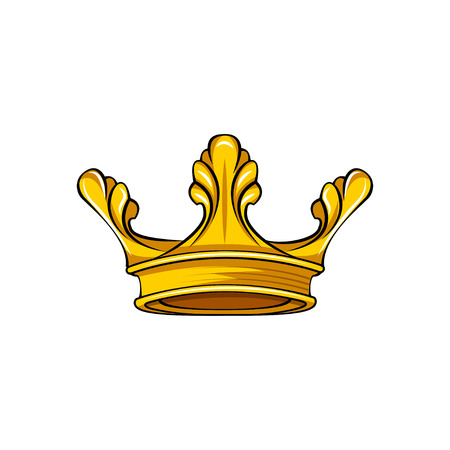 Royal attribute golden crown icon. Queen, king symbol. Vector illustration.