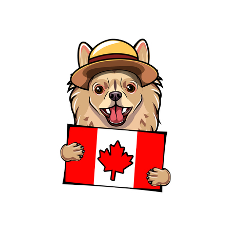 Chihuahua dog. Canada day holiday. Canadian flag. Royal Canadian Mounted Police form. Greeting card. Vector illustration.