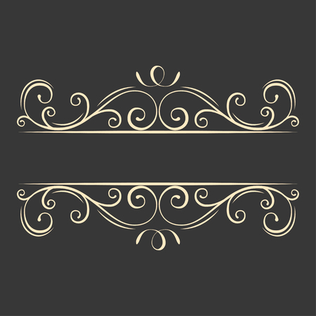 Filigree ornate page borders. Decorative scroll frame. Curl. Filigree flourish design elements. Wedding invitation, Greeting card, Save the date card. Vector illustration. Illustration