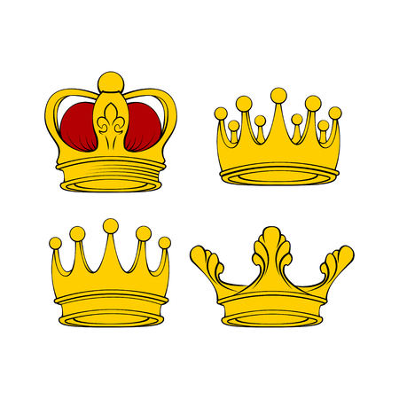 Golden crown. Royal jewelry, symbol of king queen and princess. Vector illustration.